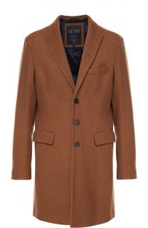 Шерстяное однобортное пальто с остроконечными лацканами Armani Jeans