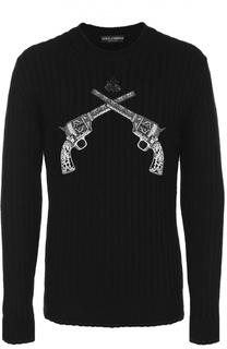 Шерстяной джемпер фактурной вязки с нашивками Dolce & Gabbana