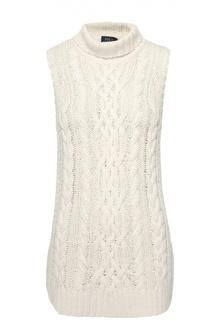 Удлиненный свитер фактурной вязки без рукавов Polo Ralph Lauren