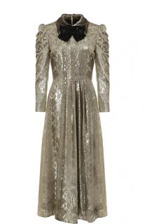 Платье с металлизированной отделкой, пайетками и рукавом-фонарик Saint Laurent