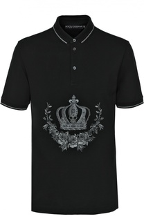Хлопковое поло с вышивкой Dolce & Gabbana
