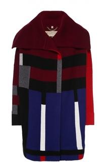 Шерстяное пальто прямого кроя с контрастным принтом Burberry Brit