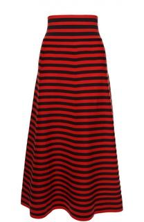 Вязаная юбка-миди в полоску с широким поясом Sonia Rykiel