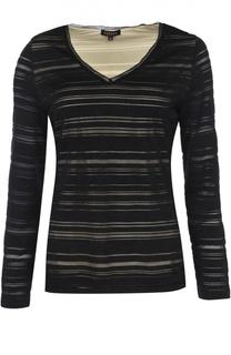Приталенный пуловер с V-образным вырезом и полупрозрачными вставками Escada
