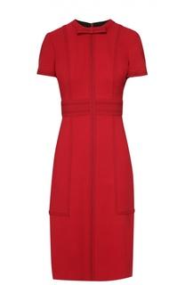 Приталенное платье-миди с контрастной отделкой Burberry