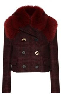 Укороченная шерстяная куртка с меховой отделкой Sonia Rykiel