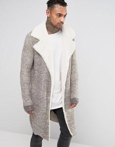 Пальто-кардиган с воротником борг Black Kaviar - Бежевый