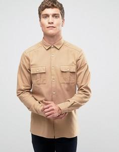 Рубашка классического кроя в стиле милитари с карманами ASOS - Бежевый