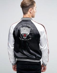 Сувенирная куртка-пилот с вышитой головой тигра Liquor & Poker - Черный