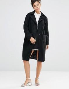 Шерстяное пальто бойфренда The WhitePepper - Черный