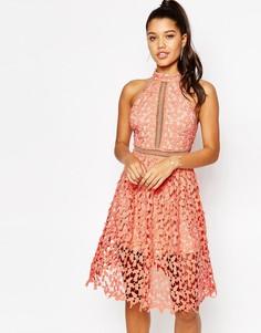 Платье миди с высоким воротом Love - Оранжевый