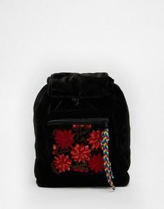 Бархатный рюкзак с цветочным карманом Hiptipico Foo Foo - Черный