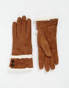 Замшевые перчатки с отделкой из шерпы на манжетах Totes - Рыжий