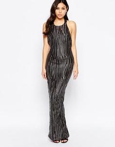 Платье макси с глубоким вырезом и пайетками Girl In Mind Leone Premium - Черный