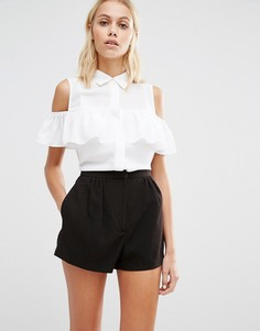 Рубашка без рукавов с оборками на плечах Fashion Union - Белый