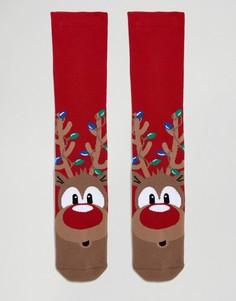 Рождественские носки с оленями Urban Eccentric - Красный