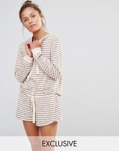 Мягкая полосатая пижама с худи и шортами Chelsea Peers - Бежевый
