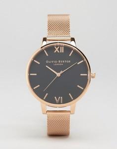 Золотисто-розовые часы с большим циферблатом Olivia Burton OB16AD05 - Золотой