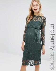Кружевное платье с длинными рукавами Mamalicious - Зеленый Mama.Licious