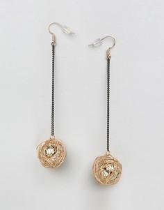 Серьги-подвески с шариками Ashiana - Золотой