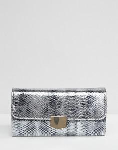 Клатч с отделкой под змеиную кожу металлик Yoki Fashion - Серебряный