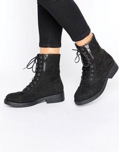 Ботинки на шнуровке Boohoo - Черный