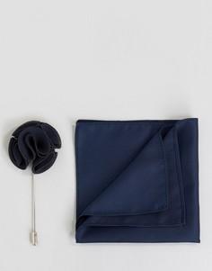 Набор из платка для нагрудного кармана и булавки для лацкана Feraud - Темно-синий