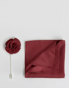 Шелковый платок и булавка для лацкана Feraud - Красный
