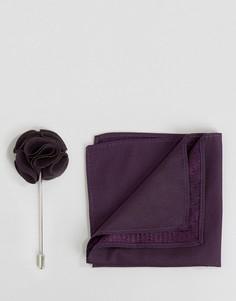 Шелковый платок и булавка для лацкана Feraud - Фиолетовый