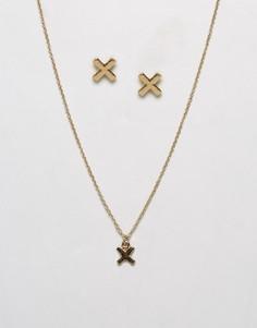 Ожерелье и серьги с крестиками Johnny Loves Rosie - Золотой