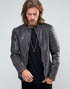 Черная кожаная байкерская куртка со стегаными рукавами Goosecraft - Черный