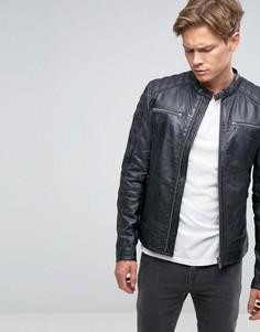 Черная кожаная байкерская куртка с молниями Goosecraft - Черный