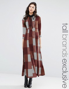 Длинное платье-рубашка в полоску с вельветовым бантиком Glamorous Tall - Мульти