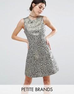 Жаккардовое короткое приталенное платье Vero Moda Petite - Золотой