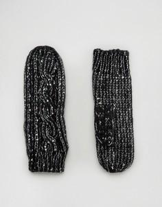 Варежки с узором косы Alice Hannah - Черный