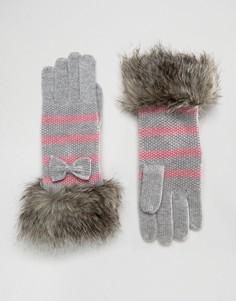 Перчатки в полоску с отделкой искусственным мехом Alice Hannah - Мульти