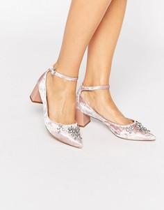 Декорированные бархатные туфли на среднем каблуке с острым носком Carvela Grand - Розовый