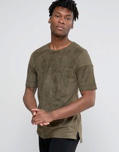 Oversize-футболка из искусственной замши с большим карманом Black Kaviar - Зеленый