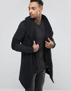 Асимметричная байкерская куртка с подкладкой из искусственного меха Black Kaviar - Черный