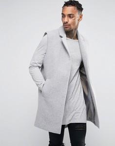 Шерстяное пальто без рукавов Black Kaviar - Серый