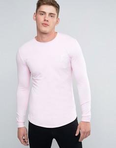 Облегающий лонгслив с логотипом Gym King - Розовый