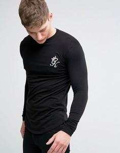 Облегающий лонгслив с логотипом Gym King - Черный