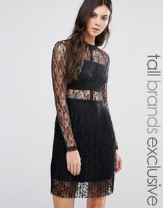 Кружевное приталенное платье с длинными рукавами Fashion Union Tall - Черный