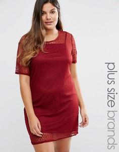 Сетчатое платье-футболка в горошек Boohoo Plus - Красный
