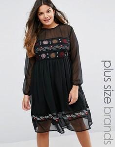 Платье миди с вышивкой Boohoo Plus - Черный
