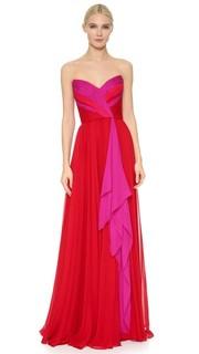 Вечернее платье без бретелек из шифона Reem Acra