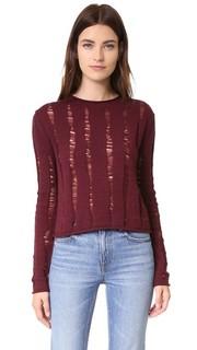 Укороченный пуловер из мериносовой шерсти со спущенными петлями T by Alexander Wang
