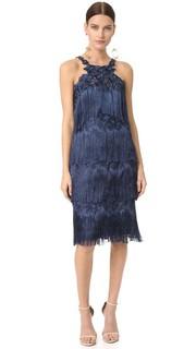 Коктейльное платье с бахромой Marchesa Notte