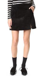 Замшевая мини-юбка на молнии Blank Denim