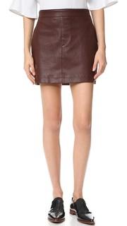 Мини-юбка из эластичной кожи Helmut Lang